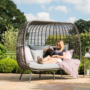 Maze Rattan Garden Furniture Riviera Grey 3 Seater Sofa