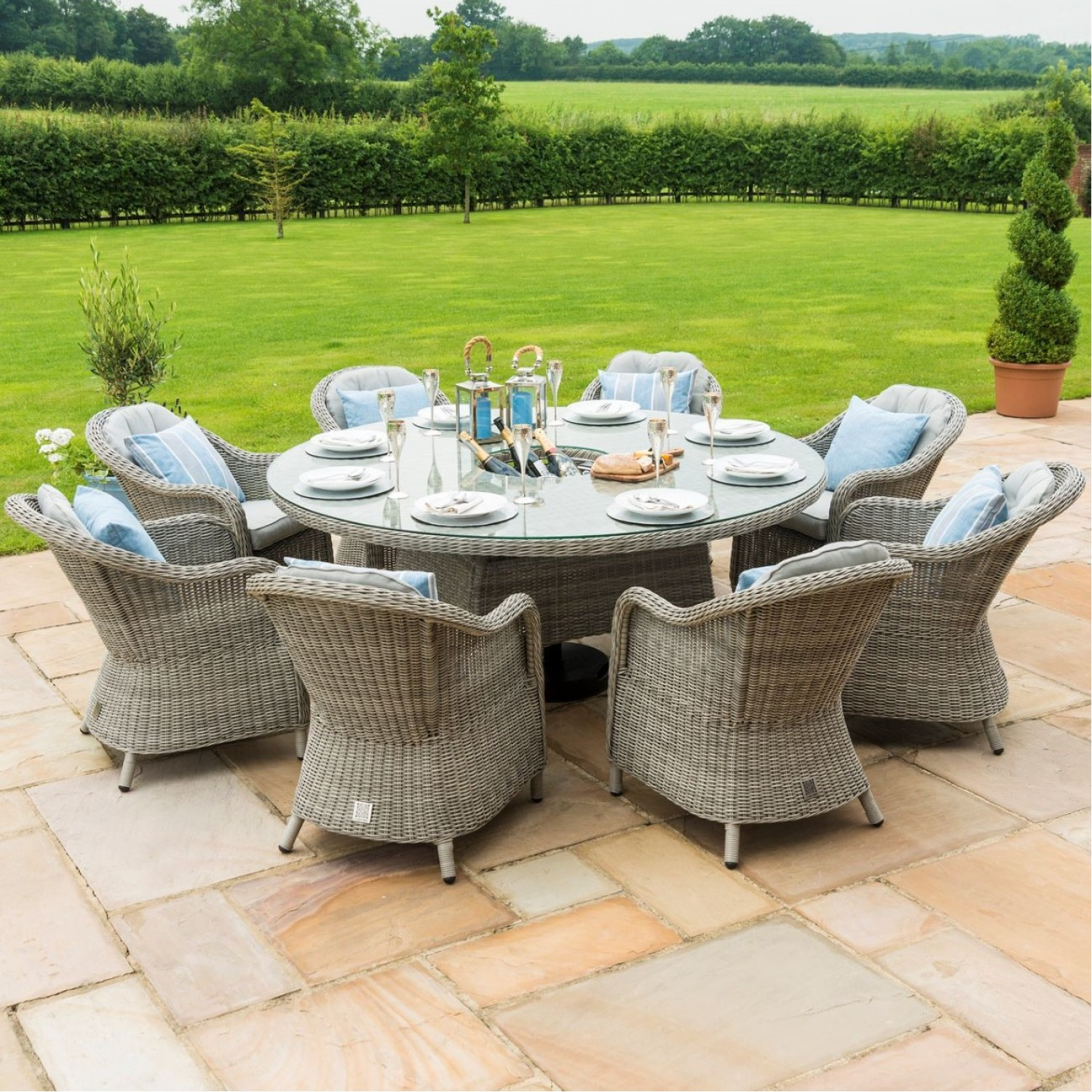 Maze Rattan Garden Furniture Oxford 8 Seater Round Ice Bucket Table And 8 Rounded Chairs Lazy Susan Oak Furniture House