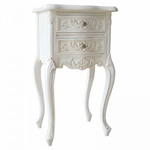 Antique White Rococo French Furniture Bedside Cabinet
