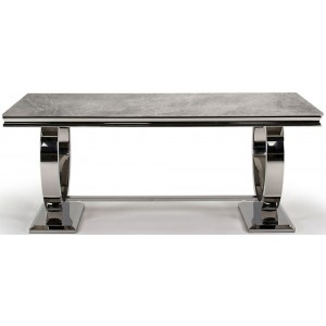 Vida Living Ludovico Large Grey Marble Dining Table with Chrome 200cm
