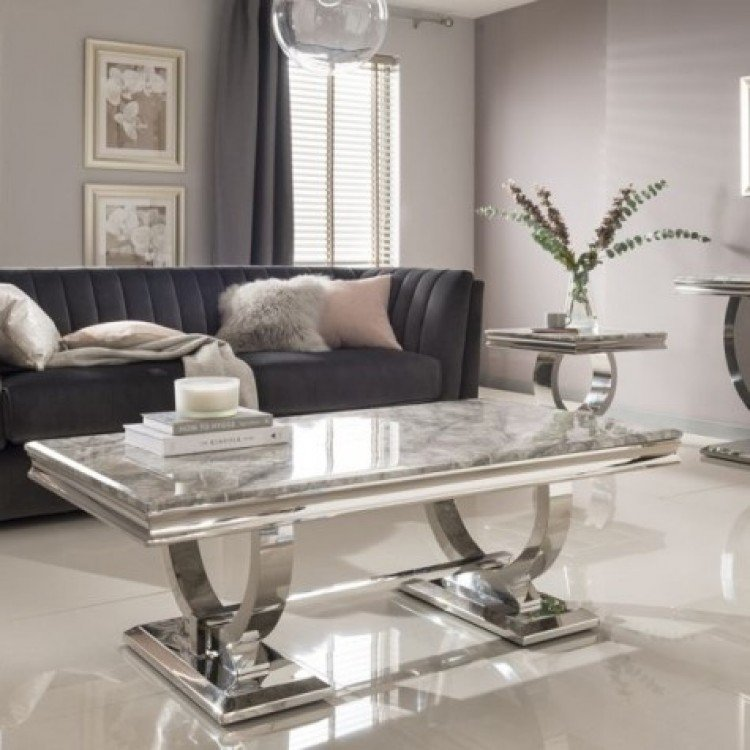 Vida Living Arianna Grey Marble and Chrome Coffee Table - PRE ORDER