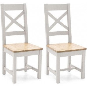 Vida Living Ferndale Grey Painted Furniture Cross Back Dining Chair Pair