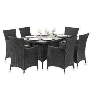 Royalcraft Garden Cannes Black 6 Seat Rectangular Dining Set
