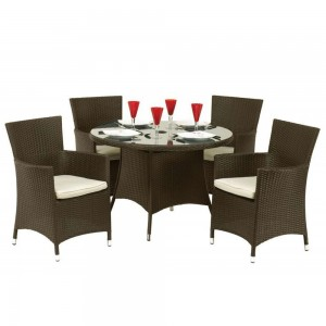 Royalcraft Garden Furniture Cannes Mocha Brown 4 Seat Dining Set