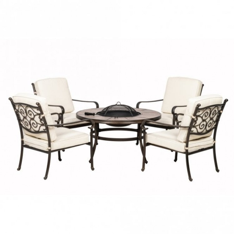 Royalcraft Metal Garden Versailles 4 Seat Lounge Set with Fire Pit
