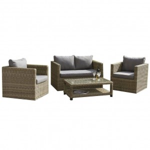 Royalcraft Garden Furniture Wentworth Rattan 4 Seater Fixed Sofa Set