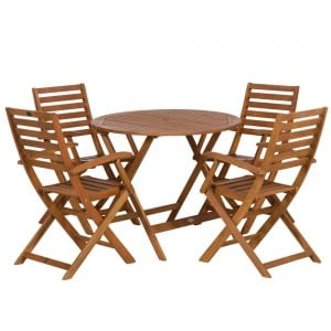 Royalcraft Garden Manhattan Wooden 4 Seater Armchair Dining Set