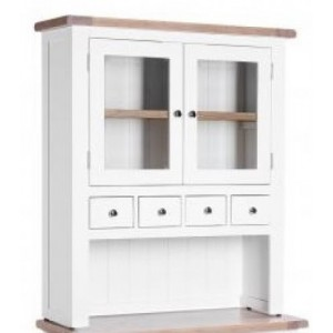Chalked Oak and Pure White Dining Room Furniture 2 Door Hutch