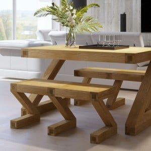 Clearance Z Solid Oak Furniture Dining Table Small Bench