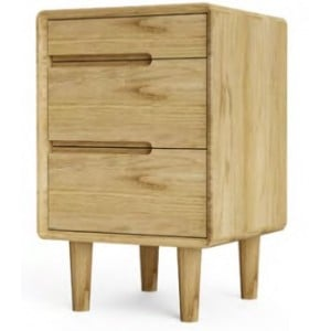 Scandic Oak Furniture 3 Drawer Bedside