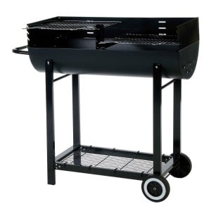 Lifestyle Appliances Half Barrel With Wind Shield Charcoal BBQ