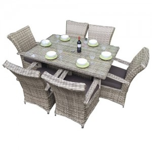 Signature Weave Florence 6 Seat Rect. Dining Set in 3 Weave Caramel