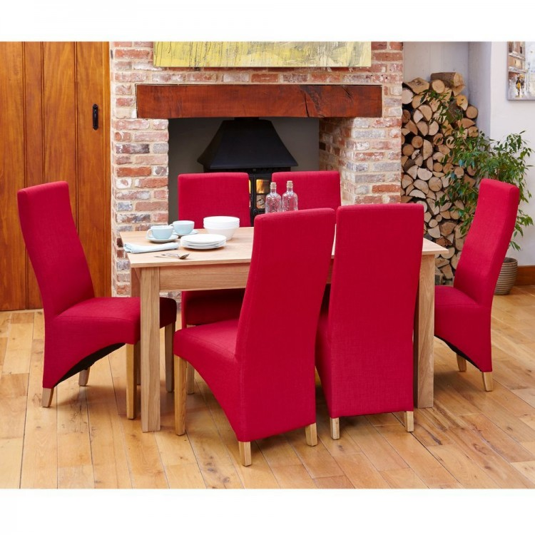Mobel Oak Furniture Extending Dining Table & Six Red Fabric Chair Set