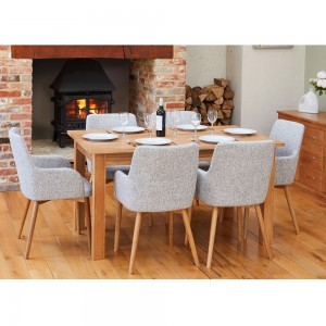 Mobel Oak Furniture 150cm Six Seater Dining Table & Slate Chair Set