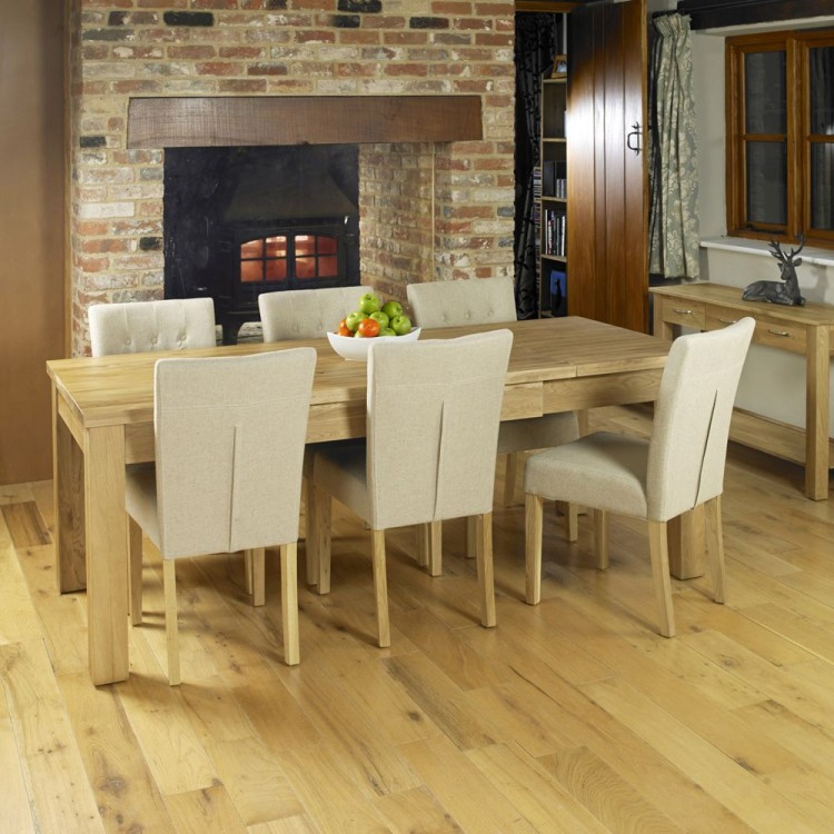Mobel Oak Furniture Extending Dining Table & Six Biscuit Chair Set