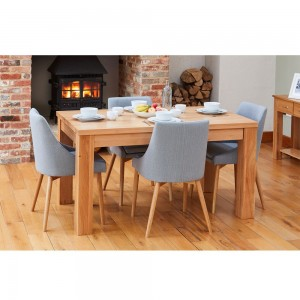 Mobel Oak Furniture Extending Dining Table & Four Grey Chair Set