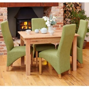 Mobel Oak Furniture Four Seater Dining Table & Sage Fabric Chair Set