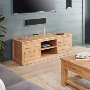 Mobel Oak Furniture Widescreen Television Cabinet Stand