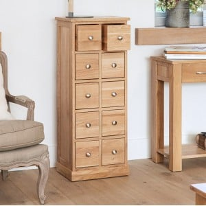 Mobel Oak Furniture Multi Drawer CD DVD Storage Chest