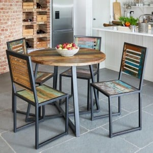 New Urban Chic Furniture 100cm Dining Table & Four Dining Chair Set