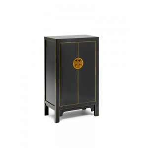 Nine Schools Oriental Furniture Qing Black and Gilt Medium Cabinet