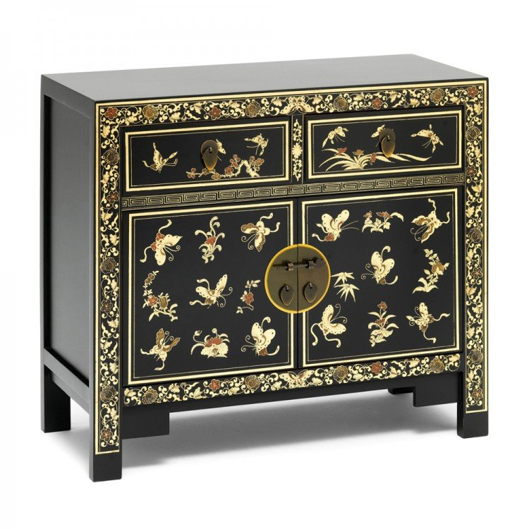 Nine Schools Oriental Furniture Black Floral Decorated Small Sideboard