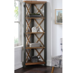 Urban Elegance Reclaimed Wood Furniture Large Corner Bookcase