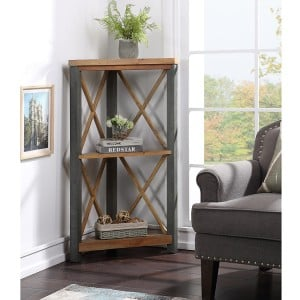 Urban Elegance Reclaimed Wood Furniture Small Corner Bookcase