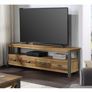Urban Elegance Reclaimed Wood Furniture Extra Large Widescreen TV unit