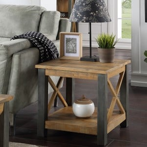 Urban Elegance Reclaimed Wood Furniture Lamp Table with Shelf