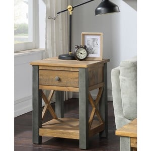Urban Elegance Reclaimed Wood Furniture Lamp Table With Drawer