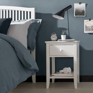 Ashby White Painted Furniture 1 Drawer Nightstand