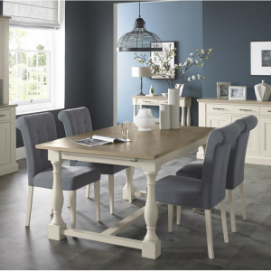 Bentley Designs Chartreuse White Dining Table & Slate Blue Chair Set