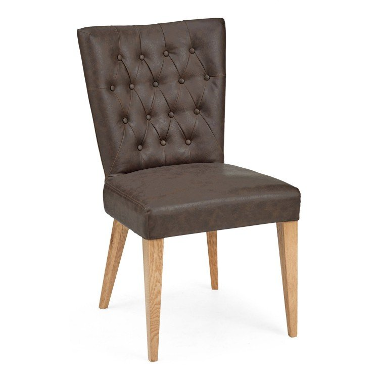 Bentley Designs High Park Upholstered Chair Pair - Brown Leather