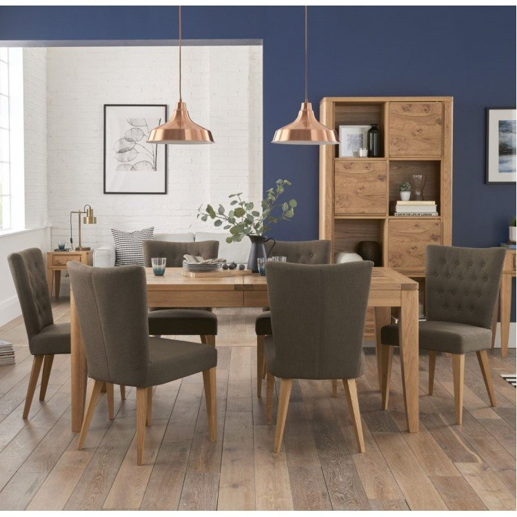 Bentley Designs High Park 6-8 Seater Extending Dining Table Set with Upholstered Chairs