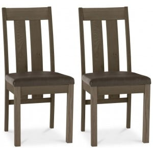 Bentley Designs Turin Dark Oak Slatted Chair Pair Bonded Leather