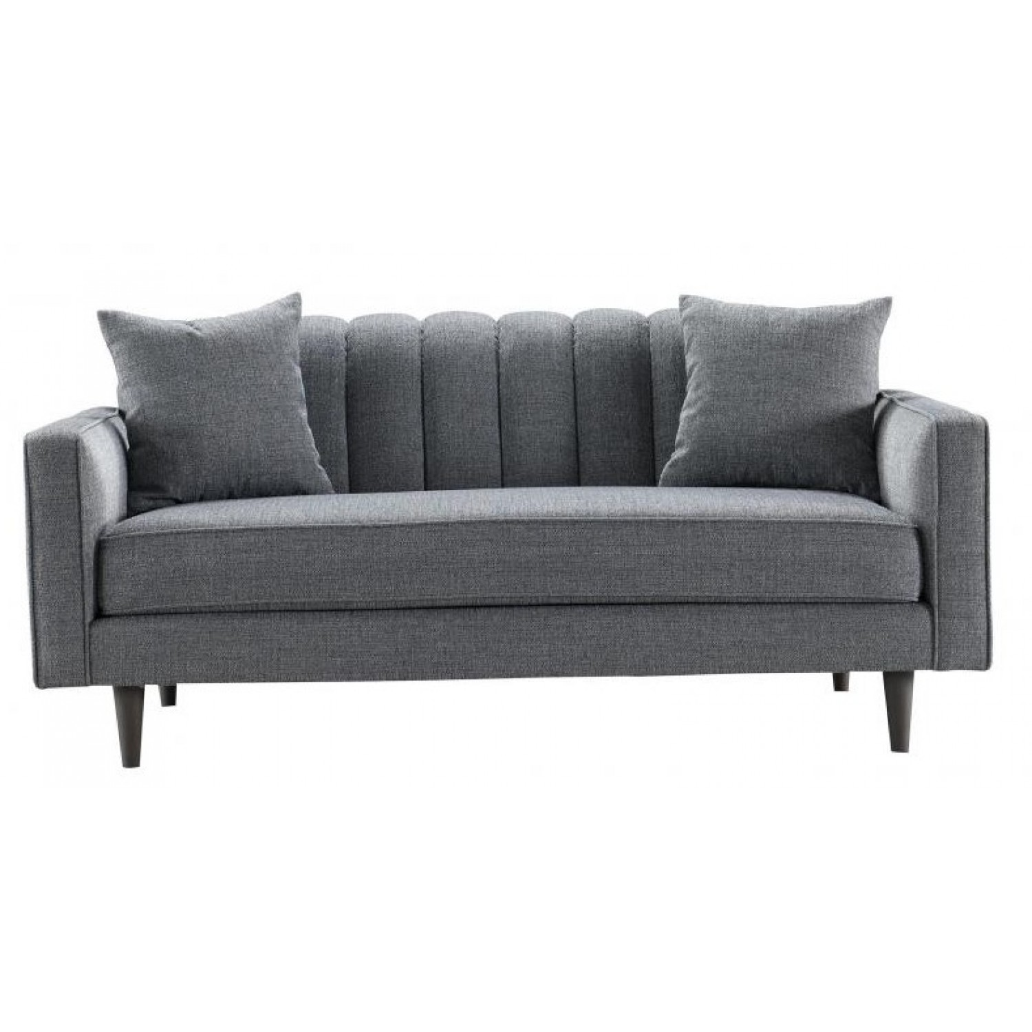 Besp Oak Contemporary Sofas Grey Ribbed 2 Seater Sofa