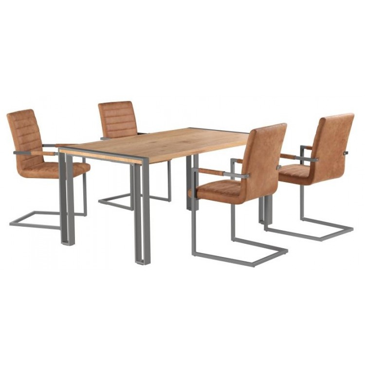 Besp-Oak Oslo Furniture Dining Table & 4 Brown Leather Chairs