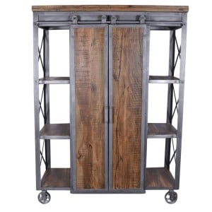 Arkwright Industrial Furniture Shelving Unit With 2 Sliding Barn Doors