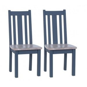 Chalked Oak and Down Pipe Furniture Vertical Slat Dining Chair Pair