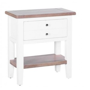 Chalked Oak and Pure White Living Room Furniture Console Table