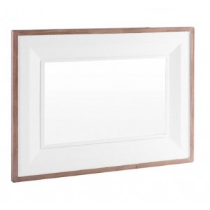Clearance Chalked Oak and Pure White Living Room Furniture Wall Mirror