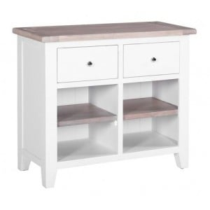 Chalked Oak and Pure White Dining Room Furniture 2 Drawer Open Buffet