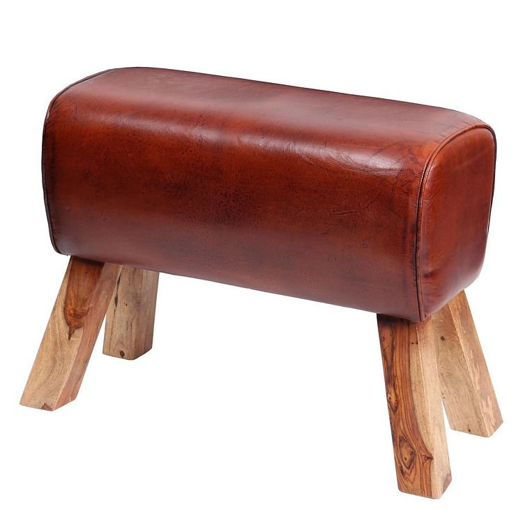 Eclectic Reclaimed Wood Furniture Leather Pommel Large Horse Stool