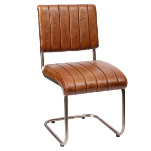 Eclectic Industrial Style Furniture Ribbed Leather Chair