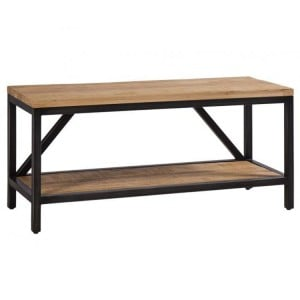 Forge Iron and Solid Oak Furniture Large Hall Bench