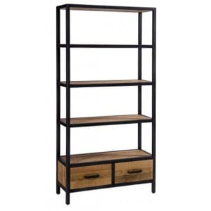 Forge Iron and Solid Oak Furniture Tall 2 Drawer Bookcase
