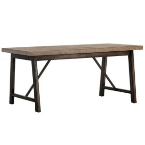 Forge Iron and Weathered Oak Furniture Large Fixed Top Dining Table KD