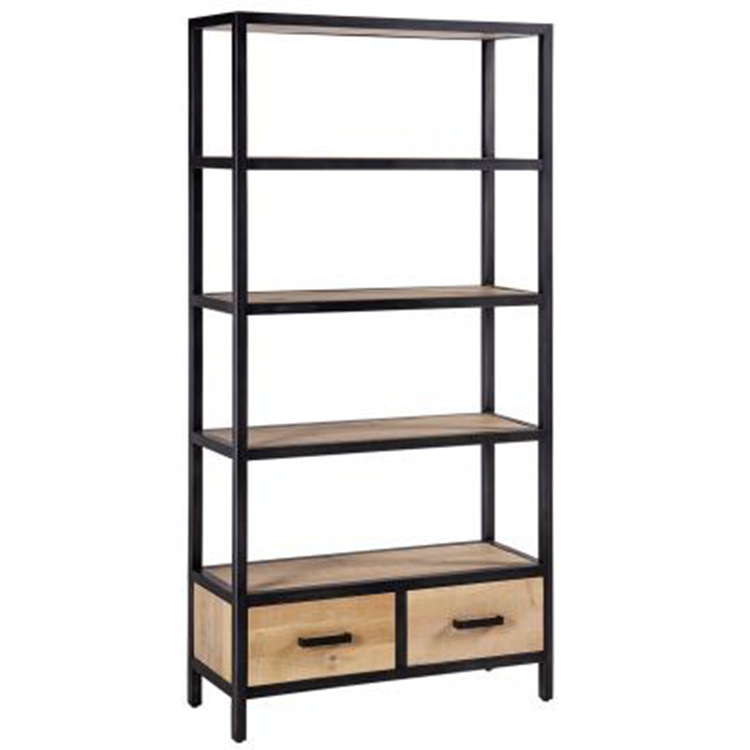 Forge Iron and White Wash Oak Furniture 2 Drawer Tall Bookcase