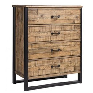 Urban Loft Reclaimed Pine Rustic Furniture 4 Drawer Chest